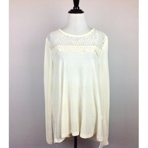 Lucky Brand High Low Waffle Knit Top Womens Large